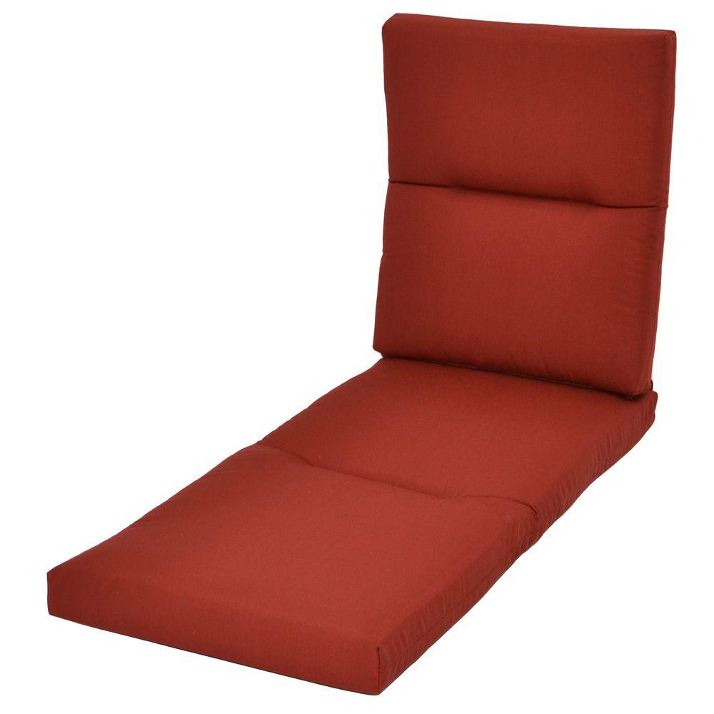 Hampton Bay Red Tweed Rapid-Dry Deluxe Outdoor Chaise Cushion
