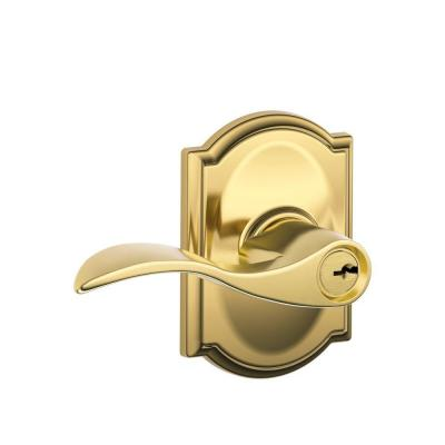Accent Bright Brass Keyed Entry Door Lever with Camelot Trim