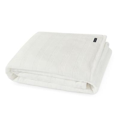 Harbor Stripe Jacquard White 1-Piece Plush Microfiber Full/Queen Blanket