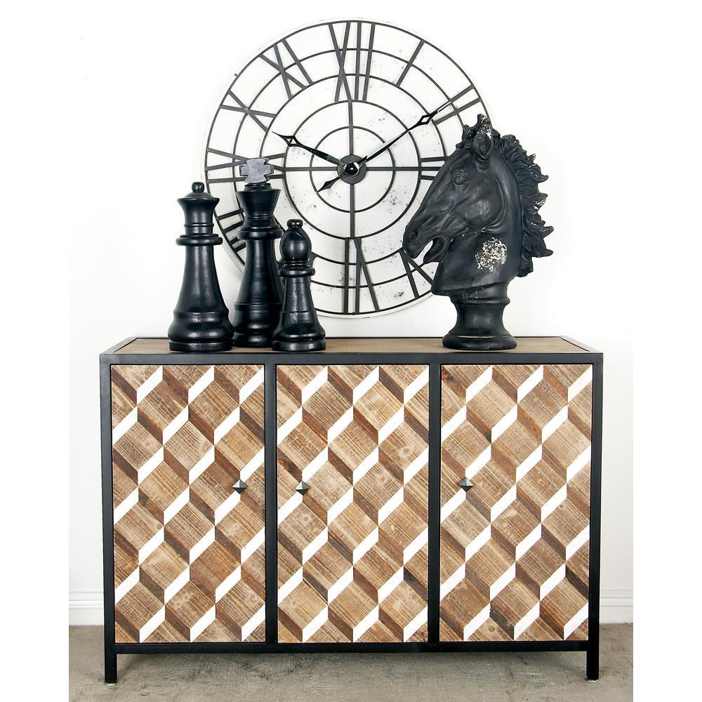 Natural Brown Rectangular 3-Door Cabinet