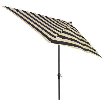 Nice Aluminum Patio Umbrella In Black Cabana Stripe With Tilt