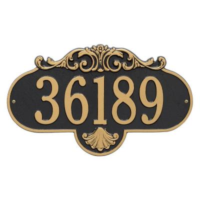 Rochelle Oval Black/Gold Grande Wall 1-Line Address Plaque