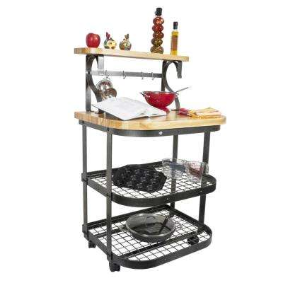 Hammered Steel Kitchen Cart With Butcher Block Top