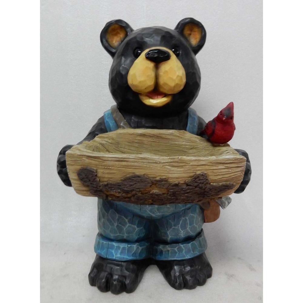 Bear Holding Bird Bath Statue