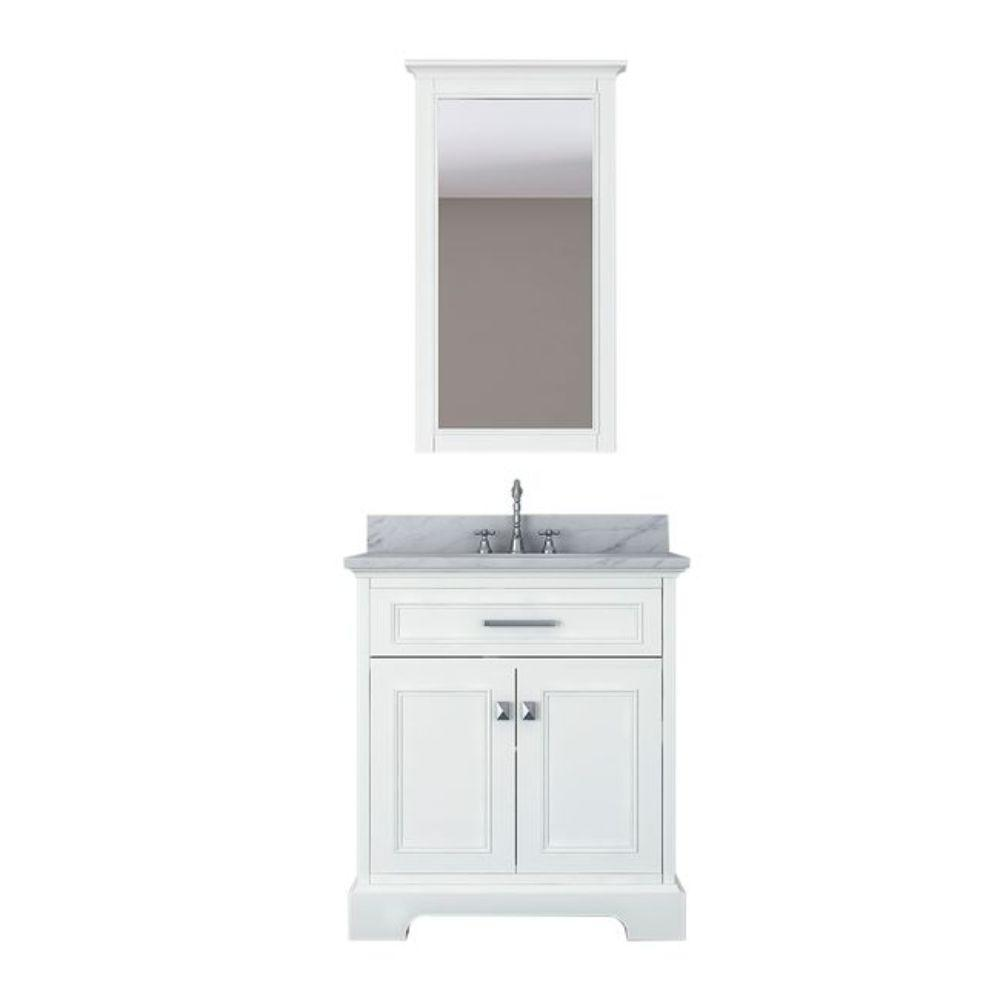 Alya Bath Yorkshire 31 in. W x 22 in. D Vanity in White with Marble Vanity Top in White with White Basin and Mirror