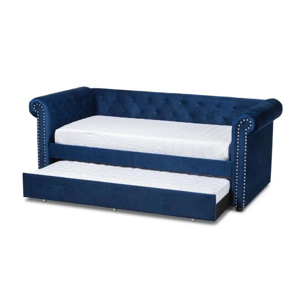 Baxton Studio Mabelle Royal Blue Twin Daybed with Trundle