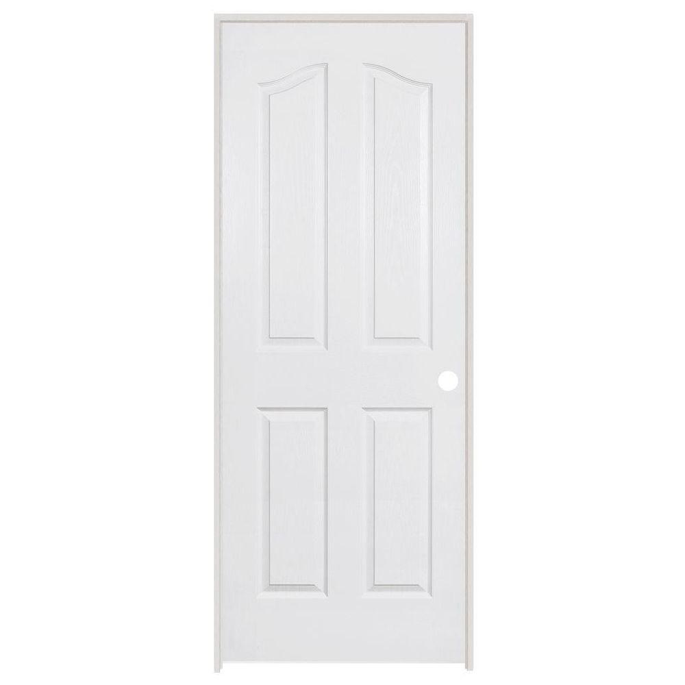 Steves & Sons 24 in. x 80 in. 4-Panel Archtop Textured Primed White Evolution Solid Core Single Prehung Interior Door