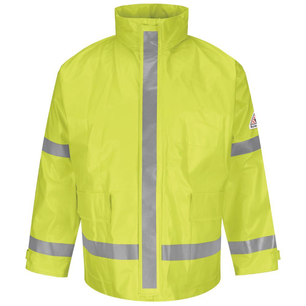 dc86181e0b58 Bulwark Men s Large Yellow   Green Hi-Visibility Breathable Rainwear ...