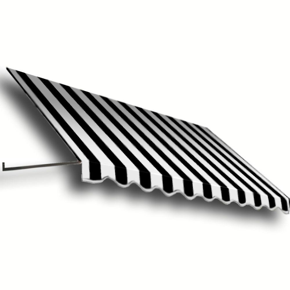 AWNTECH 30 ft. Dallas Retro Window/Entry Awning (56 in. H x 48 in. D) in Black / White Stripe
