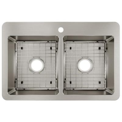 Avenue Stainless Steel 33 in. Double Bowl Dual Mount Kitchen Sink Kit