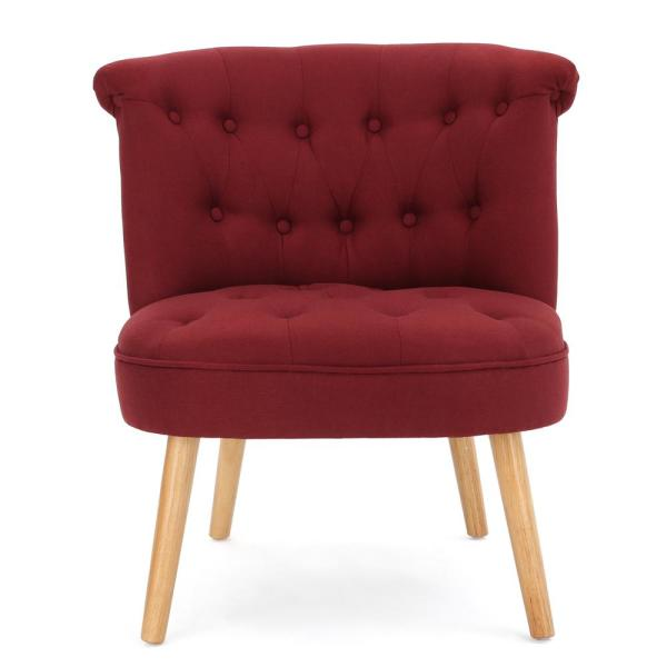 Noble House Cicely Tufted Deep Red Fabric Accent Chair