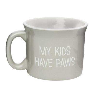 My Kids Have Paws 20 oz. Gray-White Ceramic Coffee Mug