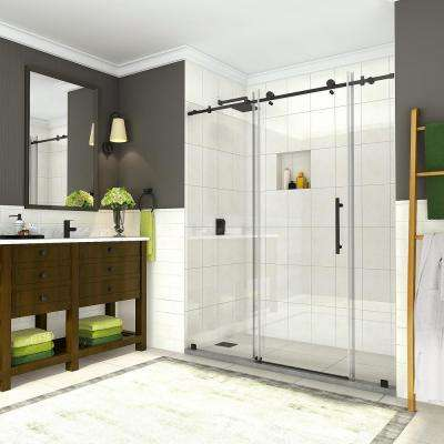 Coraline 68 in. to 72 in. x 76 in. Frameless Sliding Shower Door in Matte Black