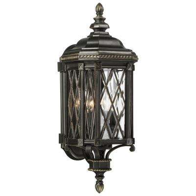 Bexley Manor 4-Light Black with Gold Highlights Wall Mount