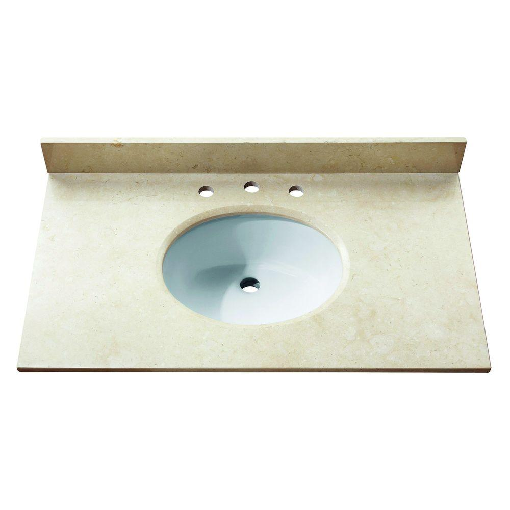 Avanity 37 in. Marble Stone Vanity Top in Galala Beige without Basin
