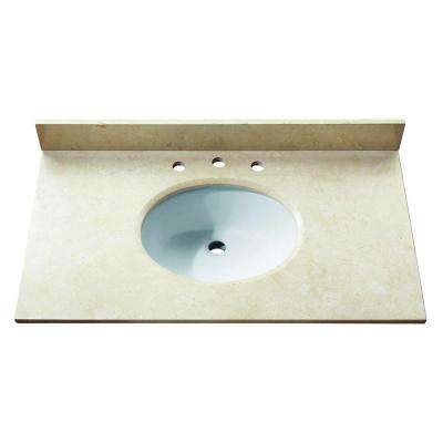 37 in. Marble Stone Vanity Top in Galala Beige without Basin
