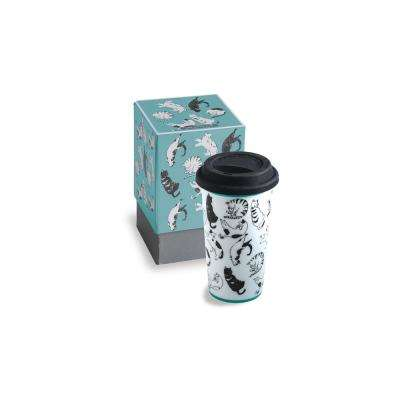 Purr & Wag 12 oz Teal Cat Travel Mug
