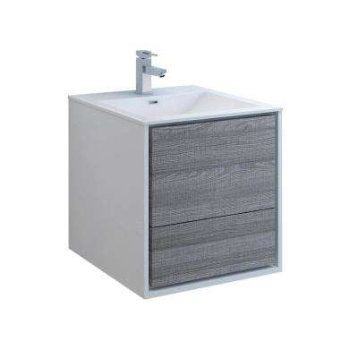 Catania 24 in. Modern Wall Hung Bath Vanity in Glossy Ash Gray with Vanity Top in White with White Basin