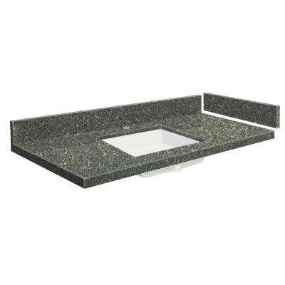 54.5 in. W x 22.25 in. D Quartz Vanity Top in Greystone with Single Hole White Basin