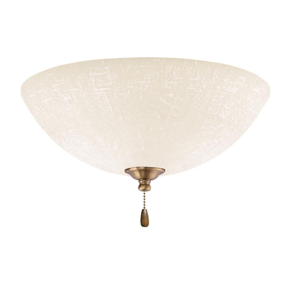 Emerson White Linen LED Array Antique Brass Ceiling Fan ...