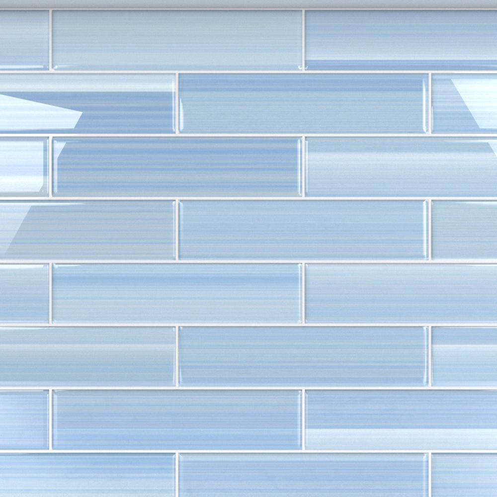 - Bodesi Big Blue 3 In. X 12 In. Glass Tile For Kitchen Backsplash