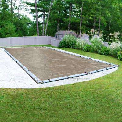 Superior 16 ft. x 32 ft. Pool Size Rectangular Sand Solid In-Ground Winter Pool Cover