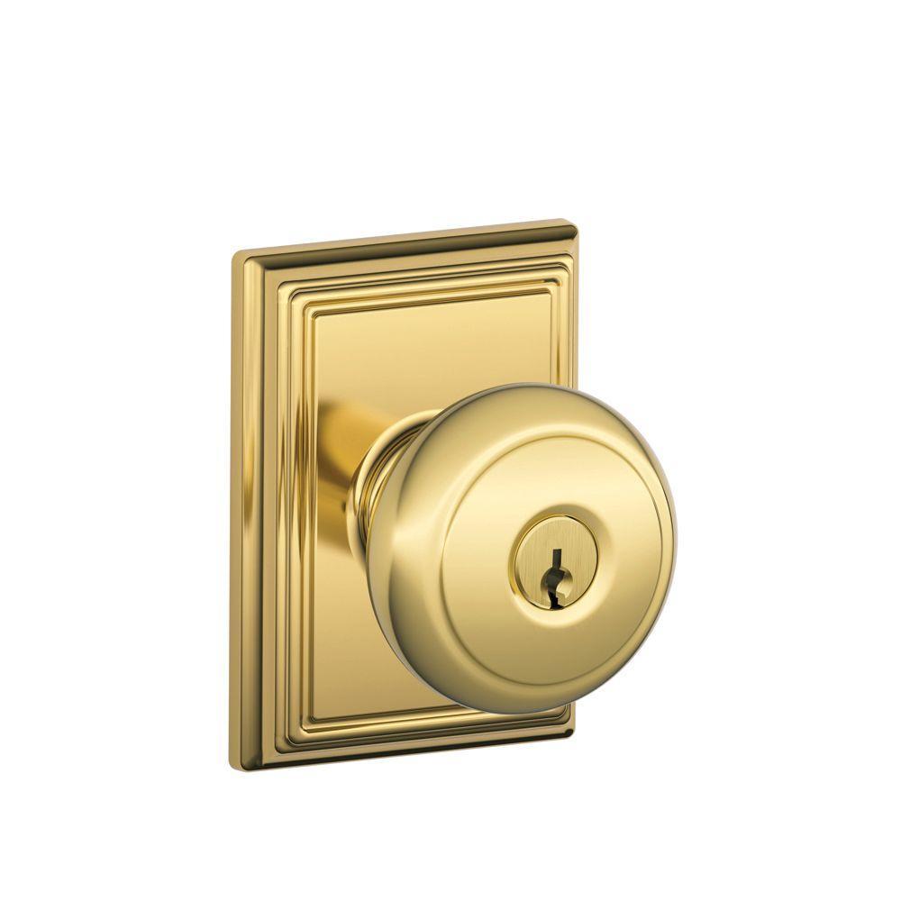 Schlage Andover Bright Brass Keyed Entry Door Knob with Addison Trim