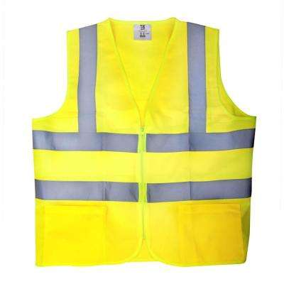 Large Yellow High Visibility Reflective Class 2 Safety Vest (5-Pack)