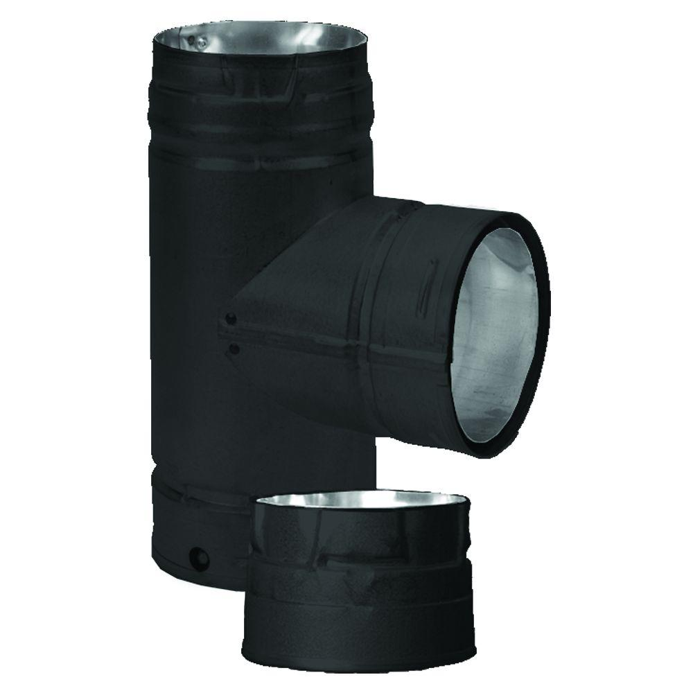 DuraVent PelletVent Multi-Fuel 3 in. Chimney Vent Tee with Clean-Out Cap in Black