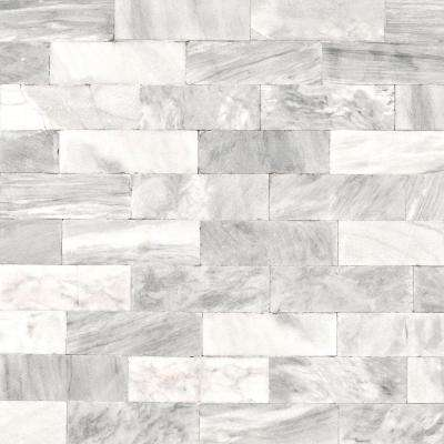 Strata Herringbone Marble Tile White Removable Wallpaper