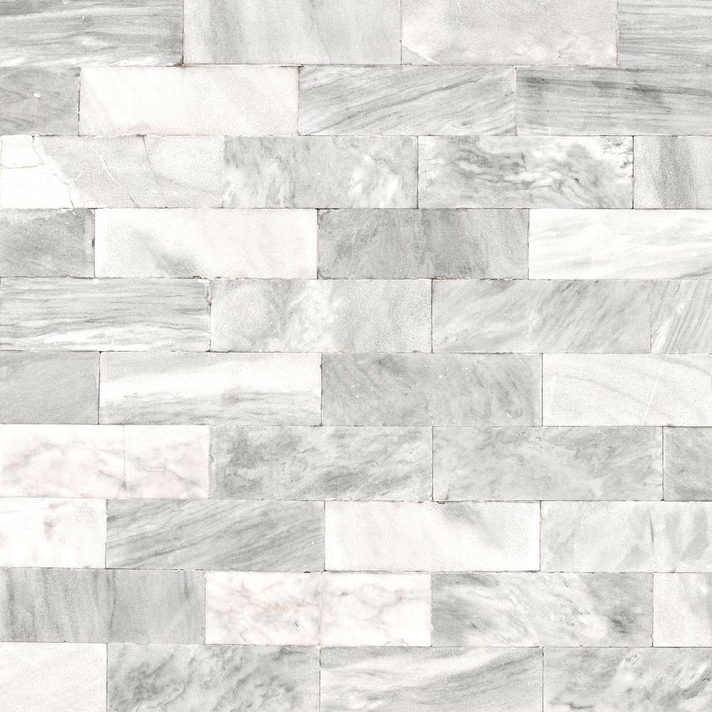Strata Herringbone Marble Tile White Removable Wallpaper Sample