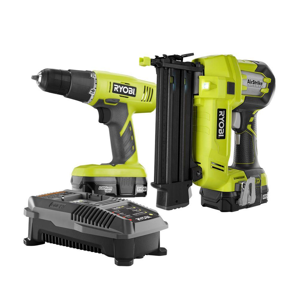 RYOBI 18-Volt ONE+ Lithium-Ion Cordless 2-Tool Combo Kit with Drill/Driver, Brad Nailer, (2) 1.3 Ah Batteries, and Charger