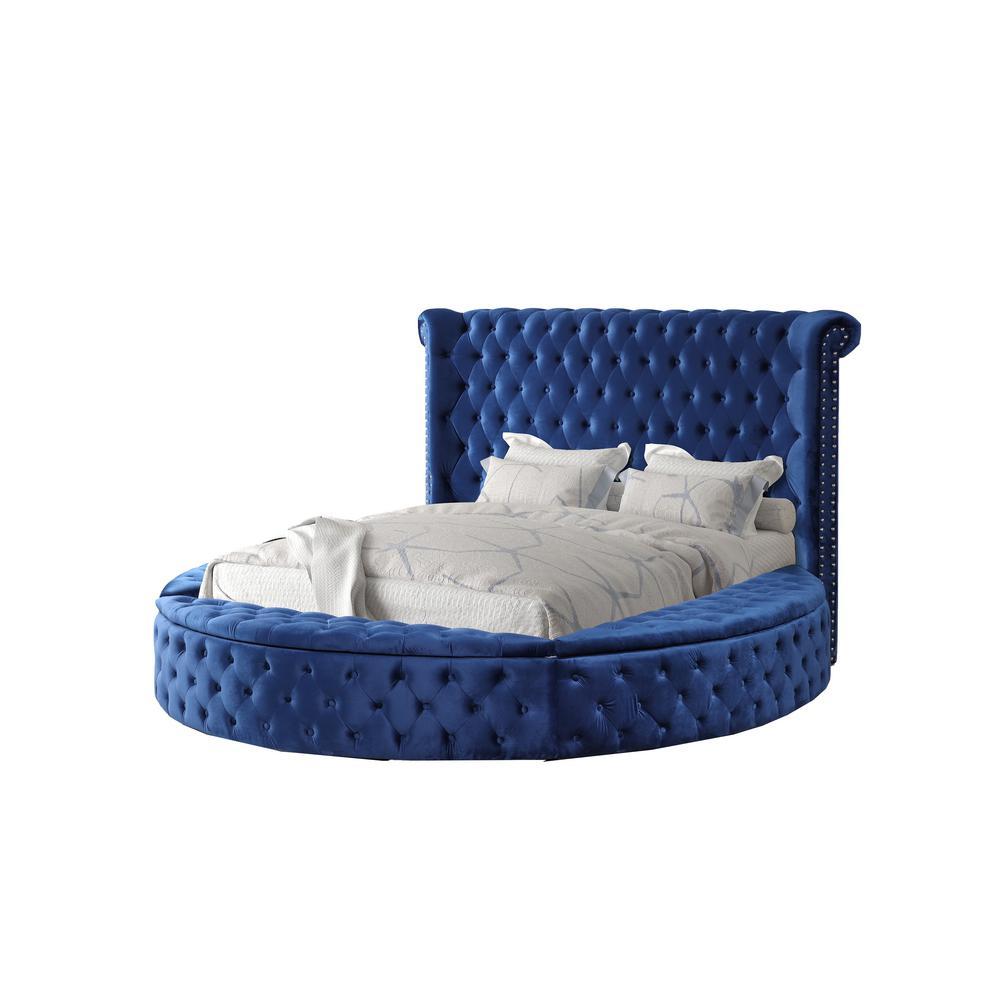 Isabella Blue Queen Tufted Round Platform Bed
