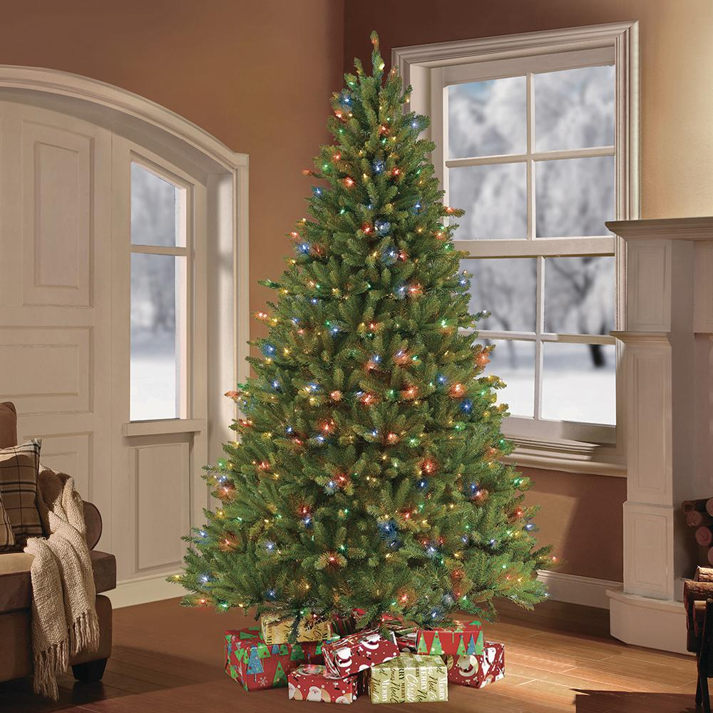 Puleo International 7 5 Ft Pre Lit Fraser Fir Artificial Christmas Tree With 750 Clear Multi Colored Led Lights