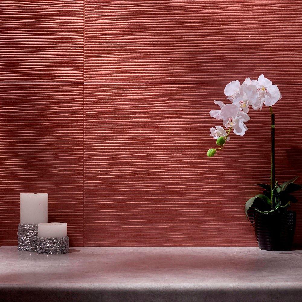 Fasade 24 in. x 18 in. Ripple PVC Decorative Backsplash Panel in Argent Copper