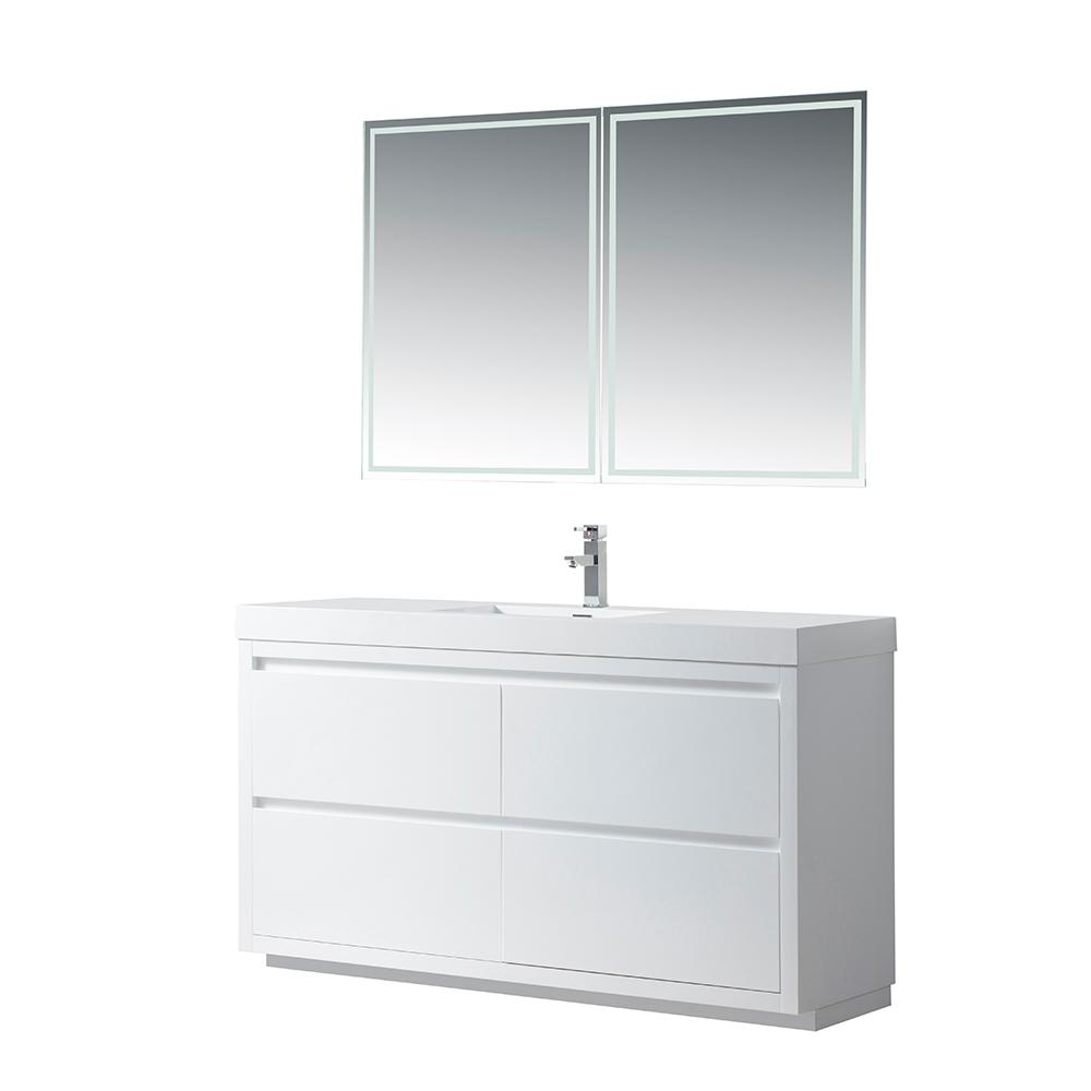 Vanity Art Annecy 60 in. W x 18.5 in. D x 32 in. H Bathroom Vanity in White with Single Basin Top in White Resin