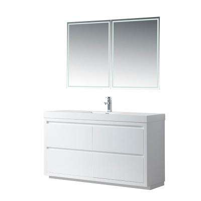 Annecy 60 in. W x 18.5 in. D x 32 in. H Bathroom Vanity in White with Single Basin Top in White Resin