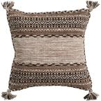 Ganale Tan Striped Polyester 18 in. x 18 in. Throw Pillow