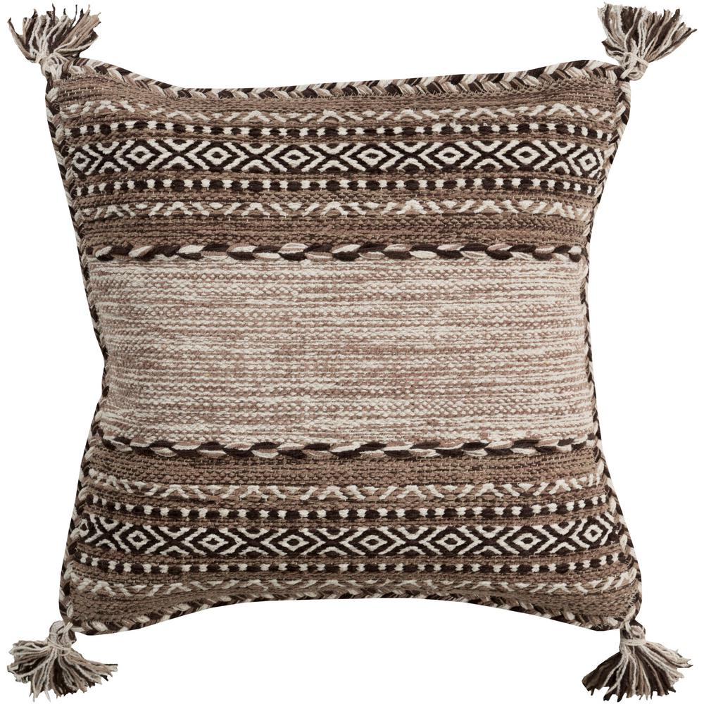 Ganale Tan Striped Polyester 20 in. x 20 in. Throw Pillow