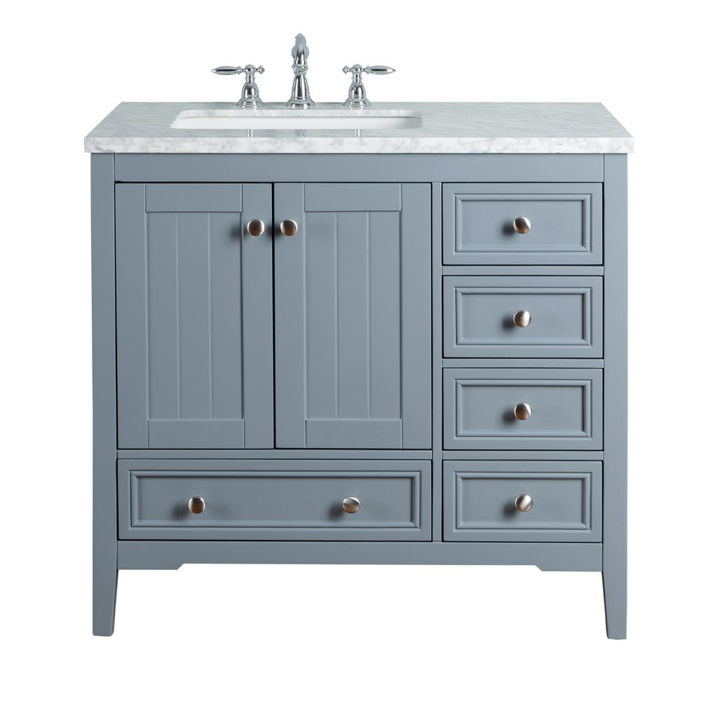 Stufurhome New Yorker 36 In Grey Single Sink Bathroom Vanity With Marble Vanity Top And White Basin Hd 1616g 36 Cr The Home Depot