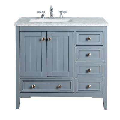 New Yorker 36 in. Grey Single Sink Bathroom Vanity with Marble Vanity Top and White Basin