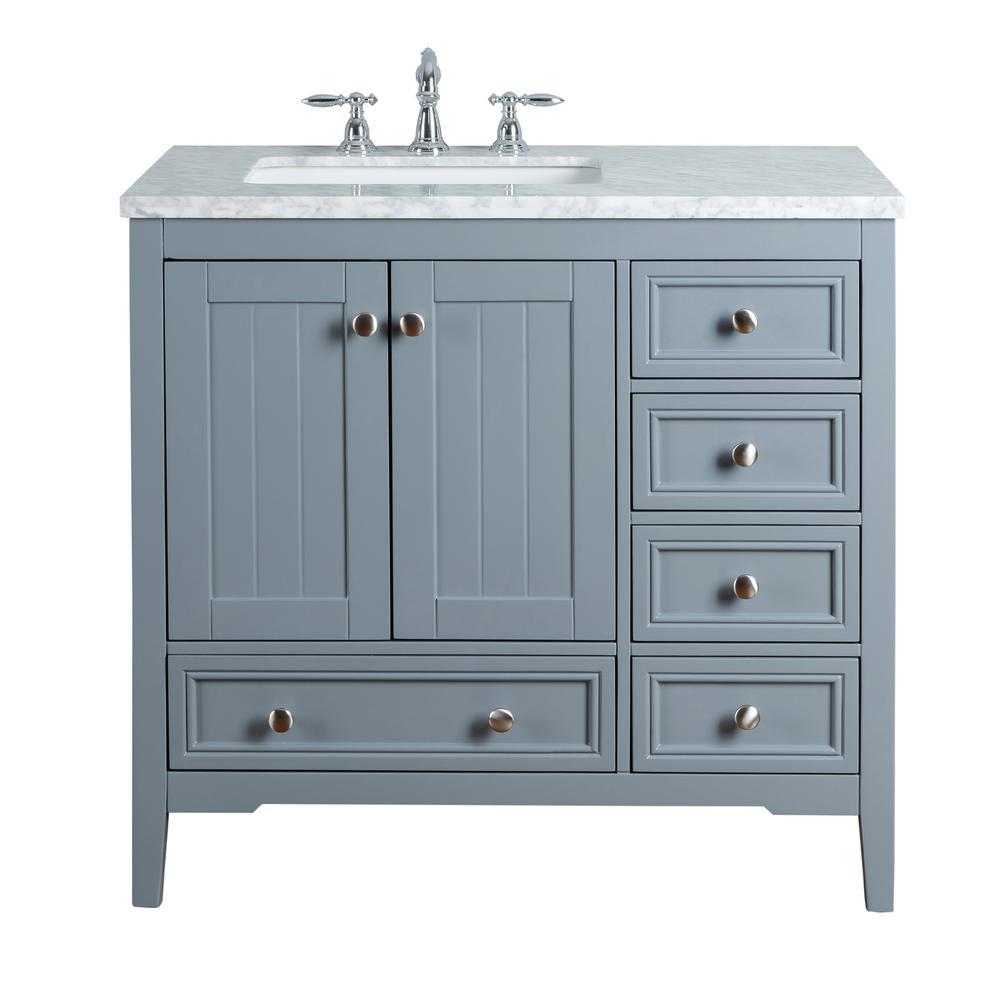 stufurhome New Yorker 36 in. Grey Single Sink Bathroom Vanity with ...