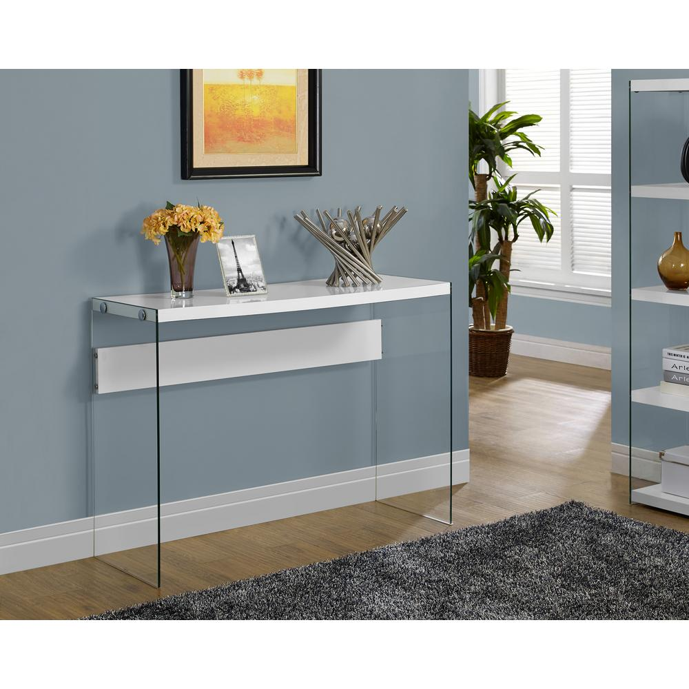 Monarch Specialties Glossy White Console Table