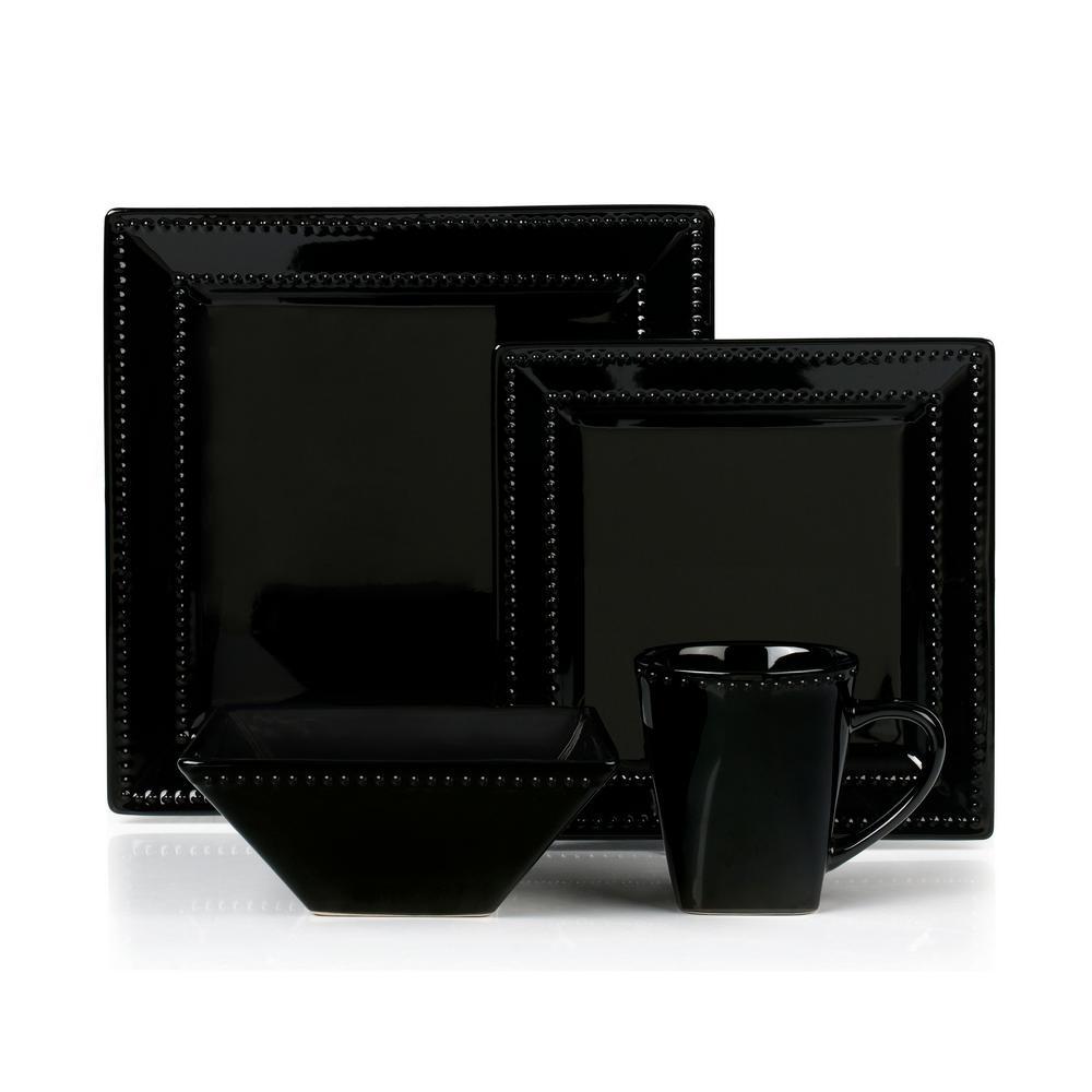 16-Piece Black Square Beaded Stoneware Dinnerware Set