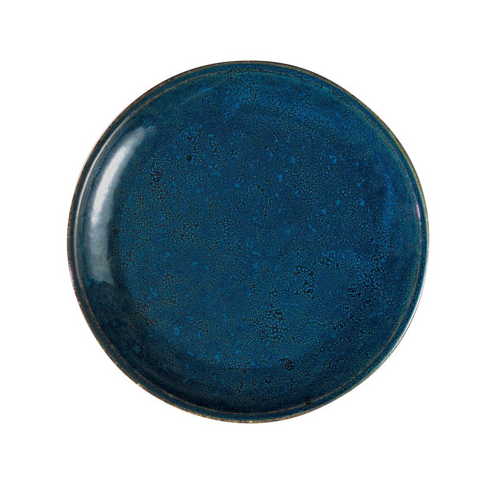 10.625 in. Blue Moss Porcelain Deep Plates (Set of 12)