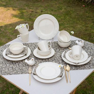 Mendi Ivory 16-Piece Casual Ivory Earthenware Dinnerware Set (Service for 4)