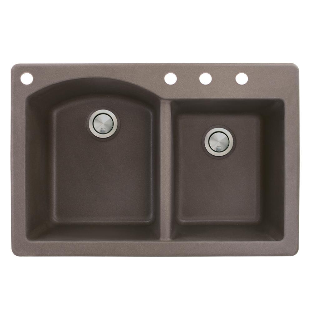Aversa Drop-in Granite 33 in. 4-Hole 1-3/4 D-Shape Double Bowl Kitchen Sink in Espresso