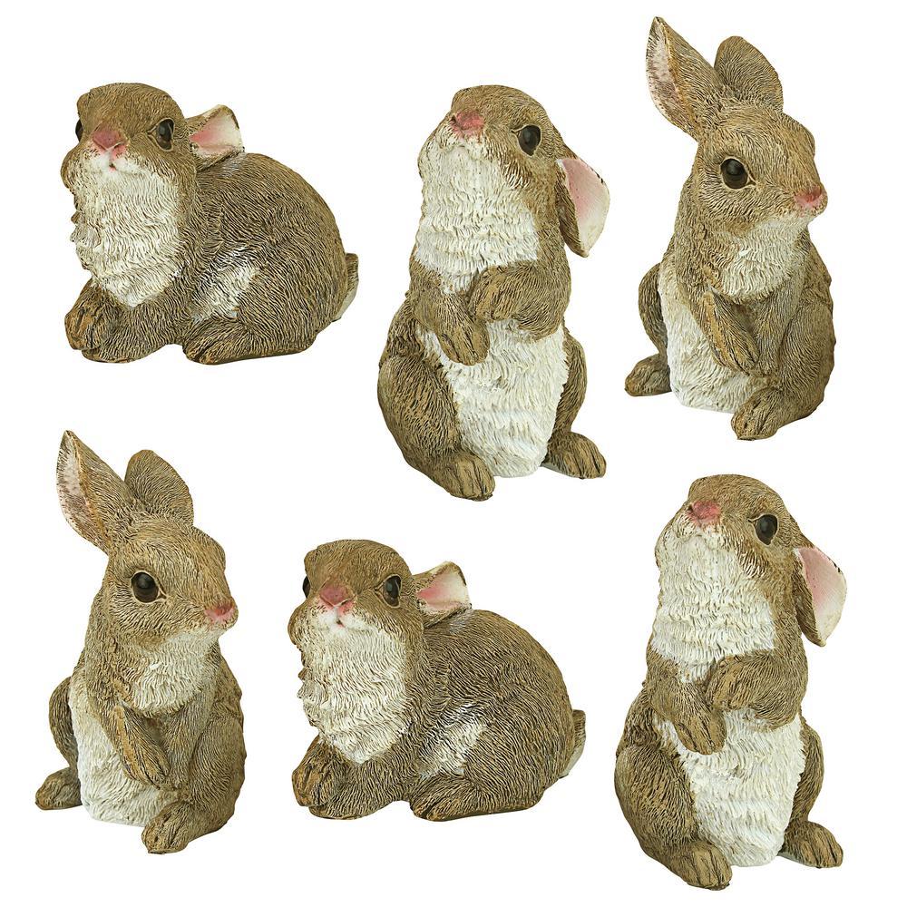 The Bunny Den Garden Rabbit Statue Set (6-Piece)