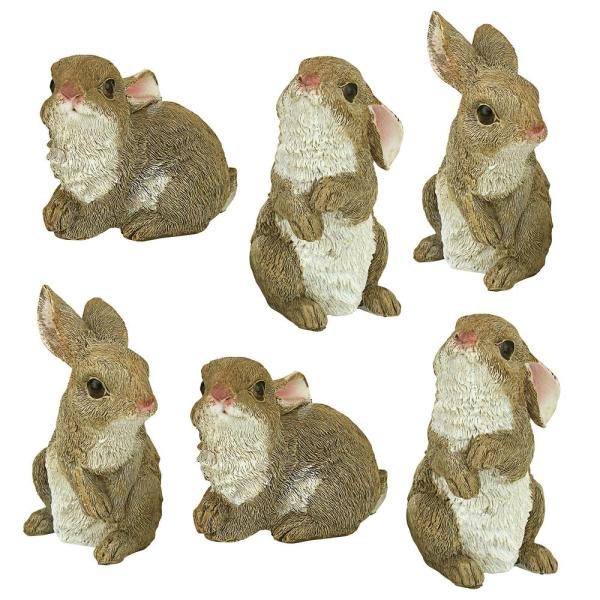 Design Toscano The Bunny Den Garden Rabbit Statue Set 6 Piece Qm992008 The Home Depot
