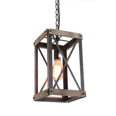 1-Light Black Wood Lantern Foyer Pendant